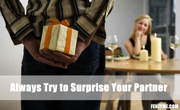 Man holding surprise gift for girlfriend
