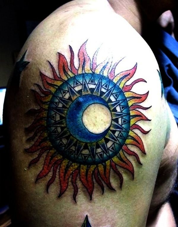 Sun Tattoo Designs for Men and Women (26)