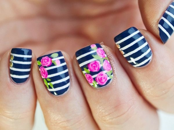 Easy Flower Nail Art Designs for Beginners10