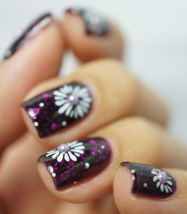 Easy Flower Nail Art Designs for Beginners13.1