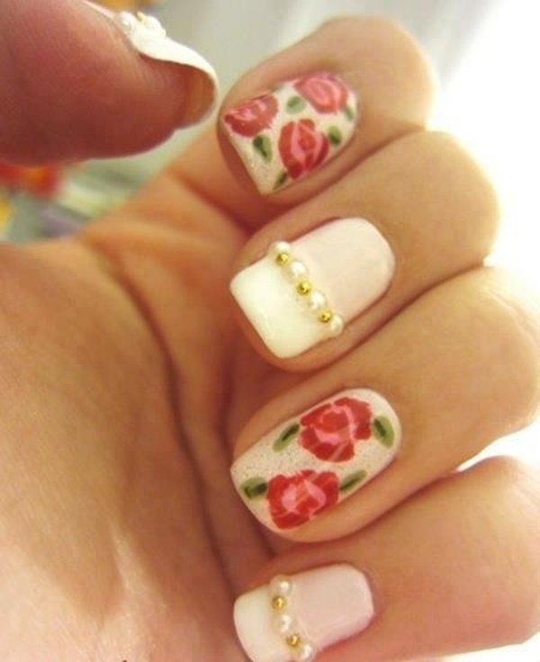 Easy Flower Nail Art Designs for Beginners30
