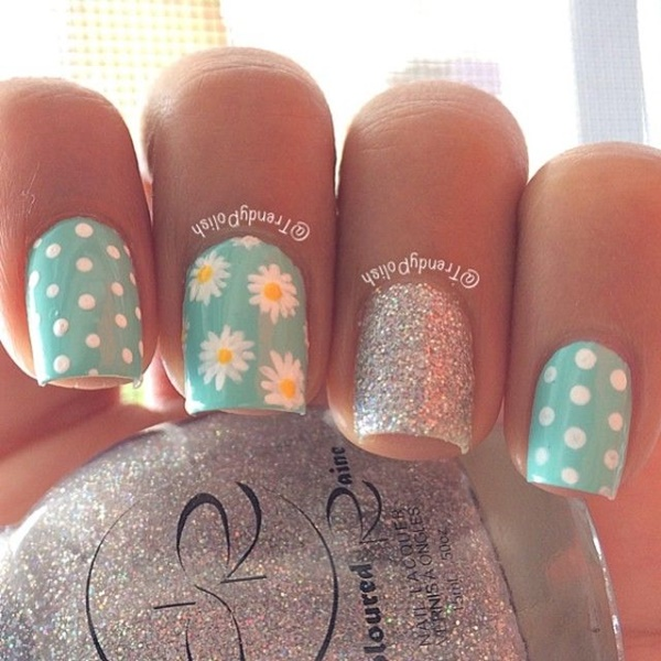 Easy Flower Nail Art Designs for Beginners36