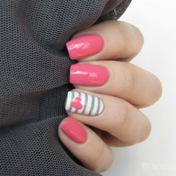 Pink Nail Art Designs for Beginners25