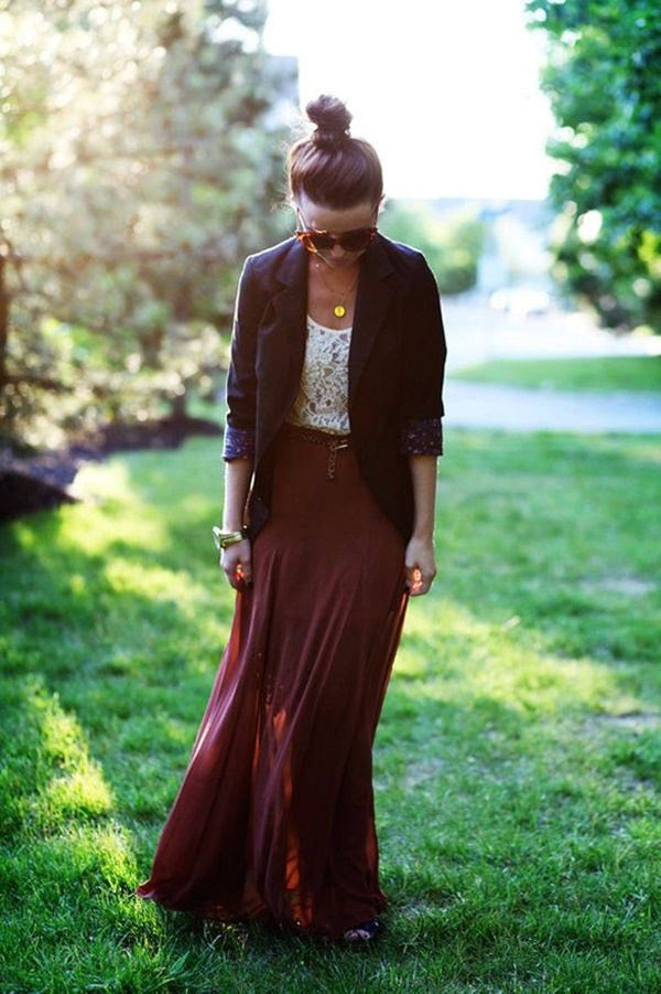 Maxi Skirt Outfits Ideas for Girls15.1