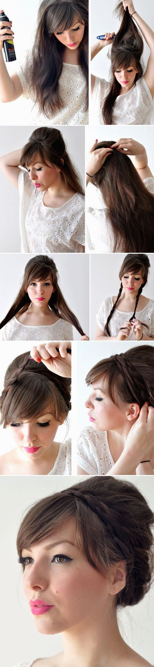 This hairstyle is basically for those who love keeping asymmetrical bangs since it adds up to the incomparable look. Divide your hair centrally and pin them up. Further, section the head vertically into two and simply make a French braid from each part. Make a bun by winding them all over the head as shown. Put on winged eyeliner to make your face a bit more expressive.