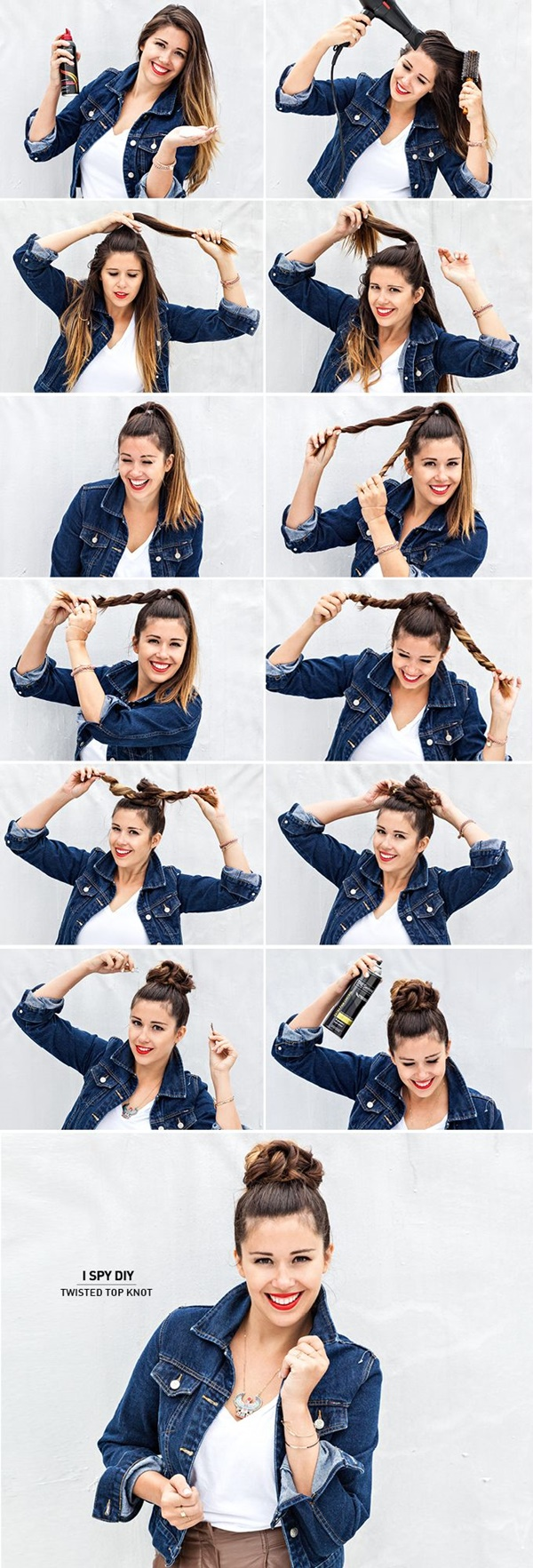 Just four steps and you get a twisted top knot in less than five minutes. Make a pony, part it into two, twist and pin! That's it. Try it out with crop top accompanied with sexy denim jacket and mini skirt and cowboy boots. Well, this is not the only outfit to try this hairstyle out; try it out with any outfit.
