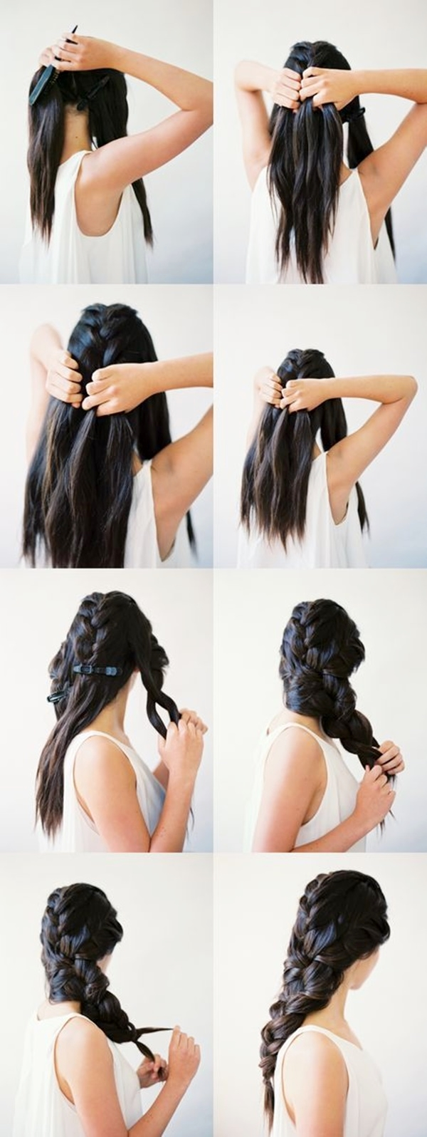 Divide your head into three, namely left, right and middle portions. Firstly, weave a simple braid using the hair from the central part of head. Then make a simple French braid with left and right temple hair as well. Using these braids, make a single thicker authentic braid to suit your intelligent professional look.