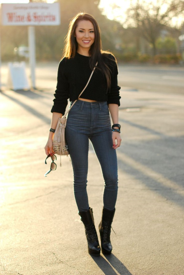 Styling Ideas to wear high waisted Shorts and Jeans0141