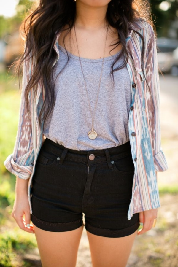 Styling Ideas to wear high waisted Shorts and Jeans0341