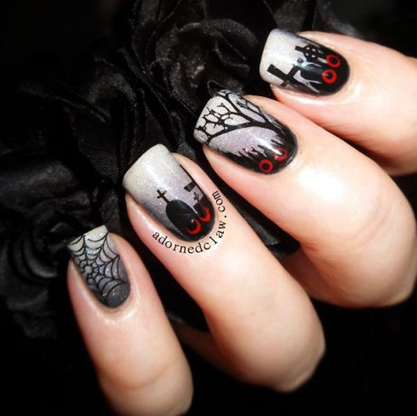Black and White Nails Designs (10)