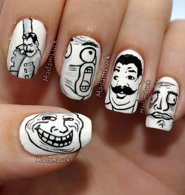 Black and White Nails Designs (14)