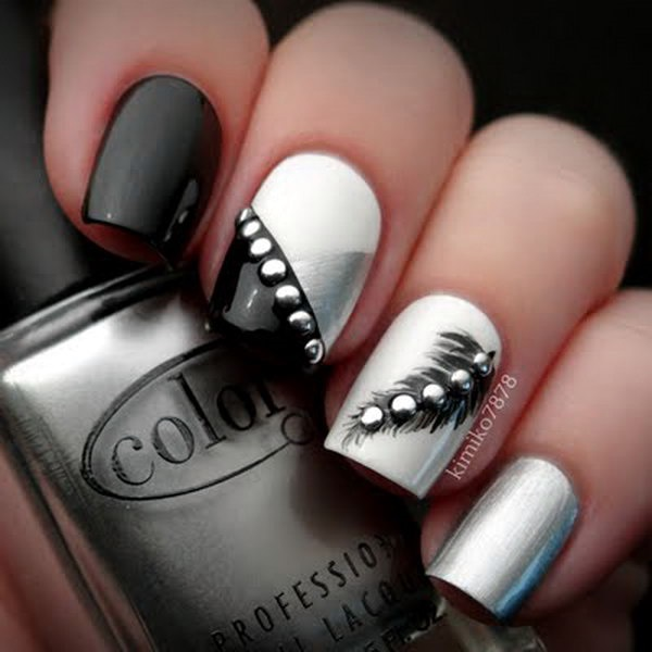 Black and White Nails Designs (20)