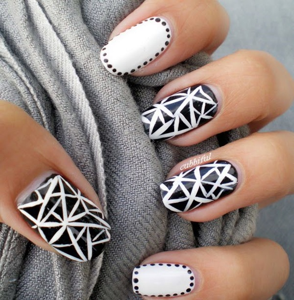 Black and White Nails Designs (30)