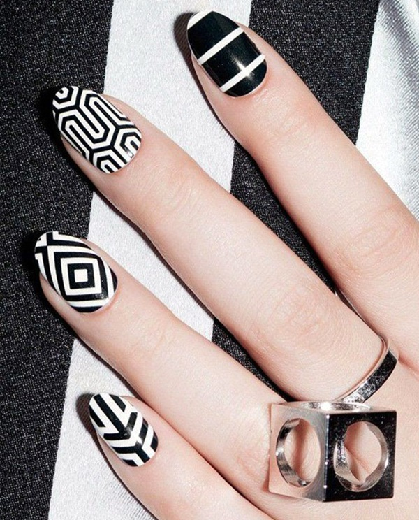 Black and White Nails Designs (4)