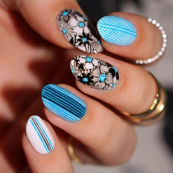 Blue Nail Art Designs and Ideas (29)
