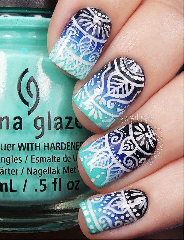 Blue Nail Art Designs and Ideas (59)