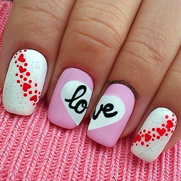 Nail Art Valentines: 55 Cute Valentine Nail Art Designs To Wear Your Feelings