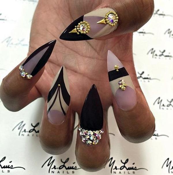 Easy Stiletto Nails Designs and Ideas (12)