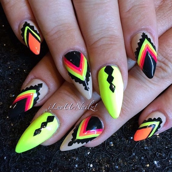 Pointy Almond Nail designs (11)