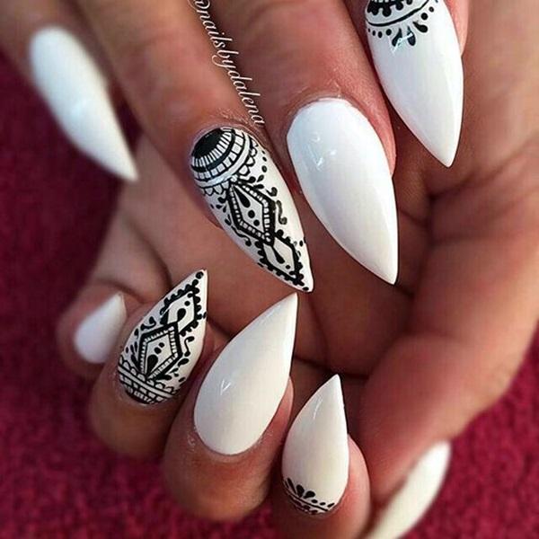 Pointy Almond Nail designs (17)
