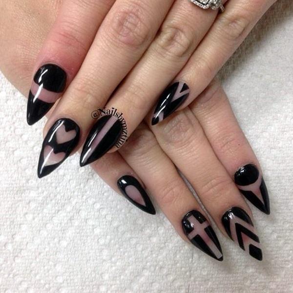 Pointy Almond Nail designs (7)