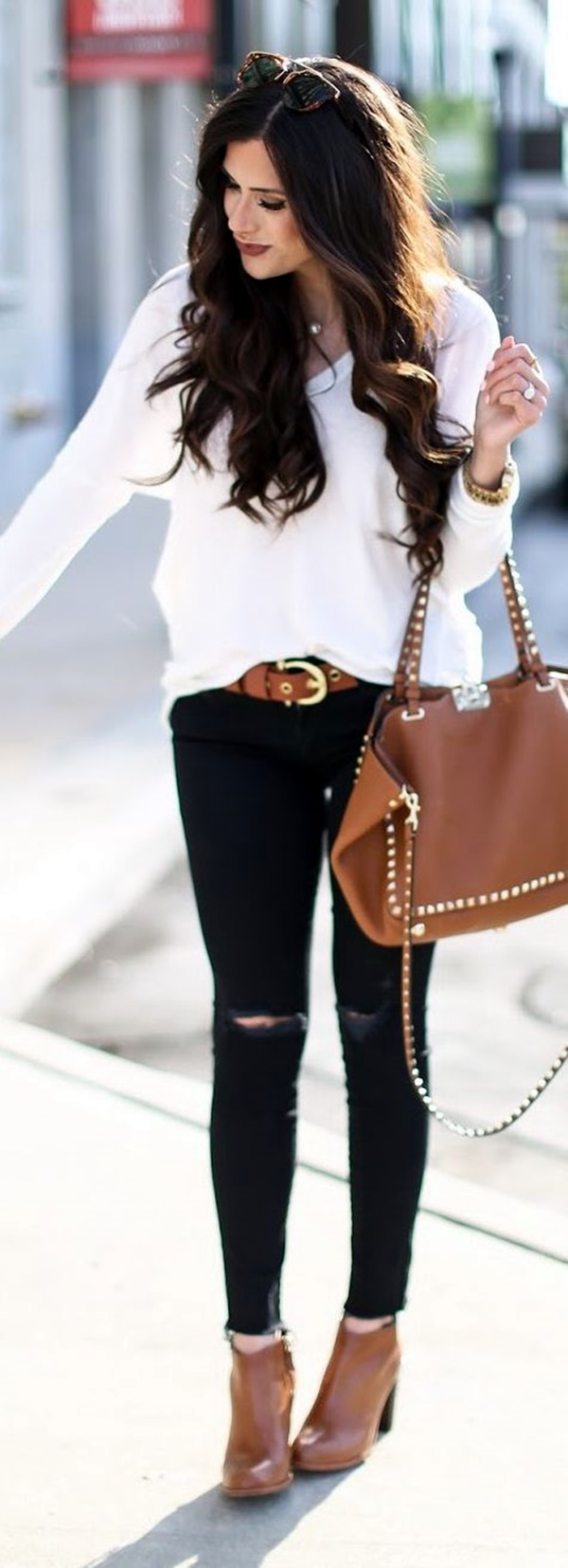 Black + White + Brown Fall Outfit