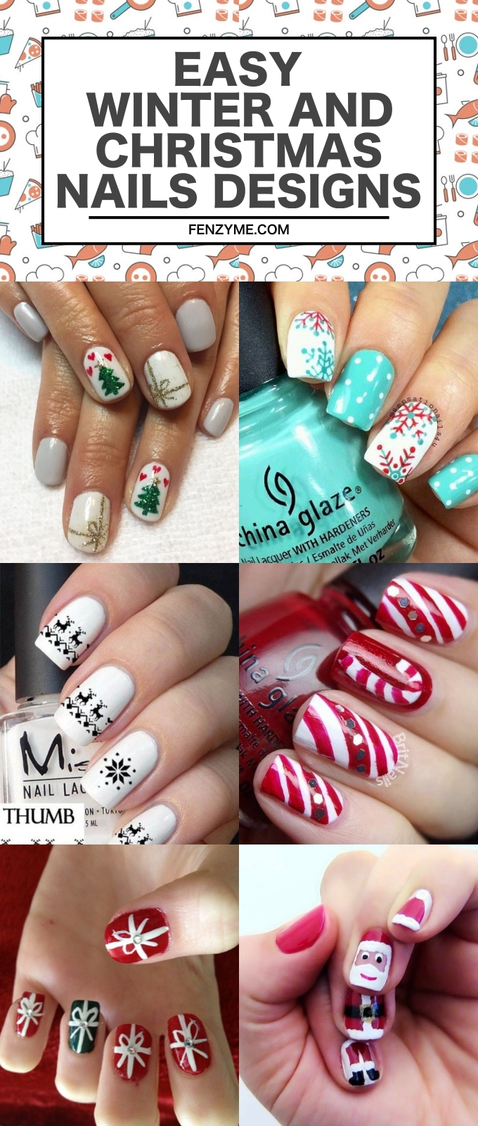 EASY WINTER AND CHRISTMAS NAILS DESIGNS