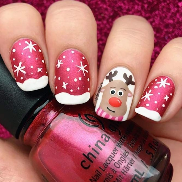 Pretty Winter and Christmas Nails Art Designs